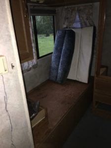 The other twin bed in the 1995 Four Winds RV.