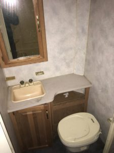 The bathroom in the 1995 Four Winds RV