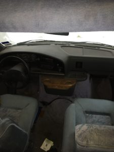 Cab and front seats in 1995 Four Winds RV