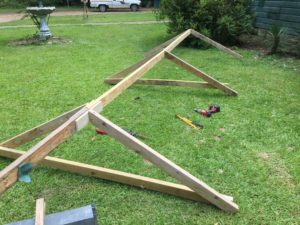 Frame for temporary RV roof